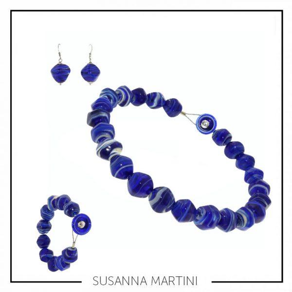 COLLANA+BRACCIALE +ORRECCHINI STONE BLUE