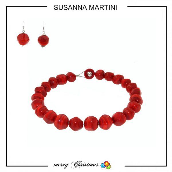 collana + orecchini stone red